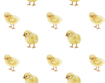 Baby Chick Fabric - Baby Chicks On White By Thistleandfox - Spring Baby Chick Nursery Decor Cotton Fabric By The Yard With Spoonflower