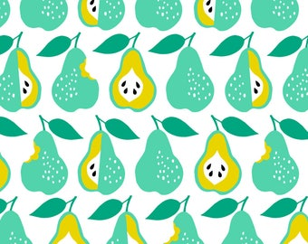 Pear Fabric - Back To School Pears By Heleen Vd Thillart - Summer Fruit Mint and Mustard Pears Cotton Fabric By The Yard With Spoonflower