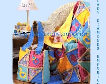 McCalls 4255 Rag Quilt & Diaper Bag For Baby Optional Appliques Designer Jennifer Lokey Baby Shower Gift Idea Sewing Pattern Uncut FF