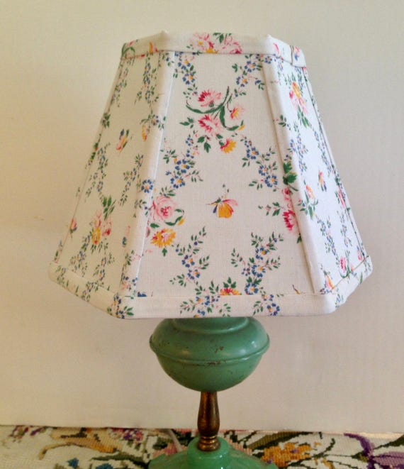 Green Floral Lamp Shade : French floral lamp shade small clip lampshade pretty vintage