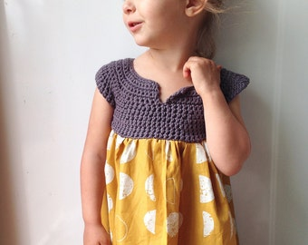 Girls dress - mustard baby dress - Easter dress - wedding girls flower dress - mustard yellow gray dress - organic baby dress -knit baby