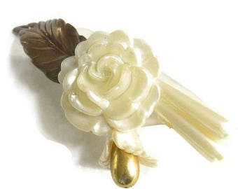 Celluloid Flower Brooch Faux Pearl Layered Rose Vintage