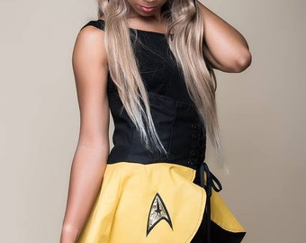 Final Frontier Command Gold Inspired Cincher Skirt