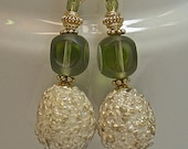 RESERVE CUSTOM ORDER Marianne - Vintage Sugar Bead Earrings,Vintage Peridot Green Cathedral Glass, Bali 24k gold vermeil beads,ear wires