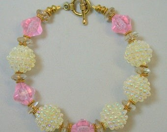 Vintage Japanese White Berry Bead Iridescent Bracelet, Vintage German 1950s Gold Glass, Vintage Pink Lucite Beads