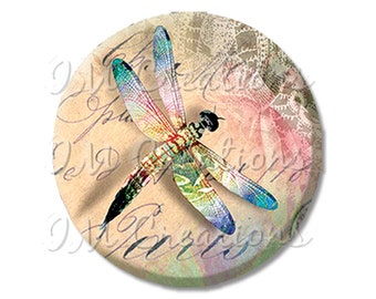 "Pretty Dragonfly Springtime - Pocket Mirror, Magnet or Pinback Button - Fundraiser, Events, Gifts - 2.25"" - MR224"