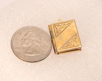 Vintage Gold Book Locket Pendant for Necklace Rectangle Goldtone Etched
