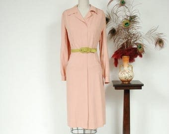 SALE - Vintage 1940s Dress - Darling Pale Pink Gabardine Zip Front 40s Day Dress with Full Sleeves and Pockets - Sophrosyne