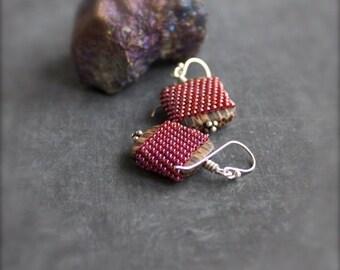 ON SALE Red Brown Beadwork Dangle Drop Earrings Patikan Wood Glass Sterling Silver Beadwoven Wrap Jewelry