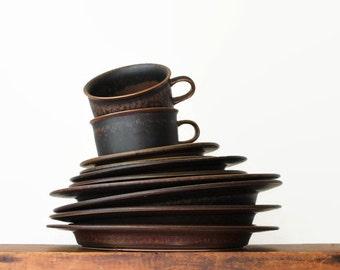 Arabia Finland Ruska Plates, Ulla Procope Design, Finnish Design, Scandinavian Modern Dinnerware, Arabia Finland, Stoneware Plates