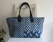 Blue and White Tote Shoulder Bag with Vegan Leather Straps