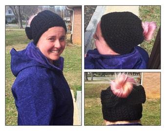 Black Messy Bun Hat, Black Ponytail Hat, Mom Bun Hat, Messy Bun, Pony Hat, Messy Bun Beanie, Crochet Bun Hat, Messy Ponytail Hat, Bun Beanie