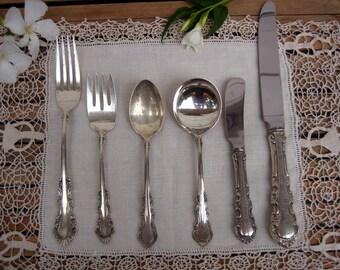 Vintage Reed & Barton Sterling Flatware Set for Eight (8) Service ~ Georgian Rose Pattern ~ Estate Sale ~ Gift for Them ~ Wedding Gift