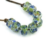 Coral Reef Drops Handmade Glass Lampwork Beads (8 Count) by Pink Beach Studios (2193)