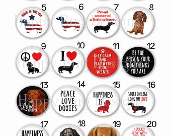 Dachshund Doxie Dog Sayings Interchangeable Magnetic Pendant Toppers or Refrigerator Magnets - Choose One or More from 20 Designs