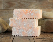 Handmade Soap - Oatmeal Scrub Bar - Orange Peel Gentle Facial or Body Scrub- Mildly Exfoliating Conditioning Soap - 5.5 to 6 oz +/- Bar
