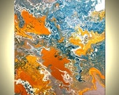 Original Teal Turquoise Gold and White Painting, Textured Abstract Blue Drip Technique Painting, Fine Art On Sale by Dan Lafferty - 16x20""