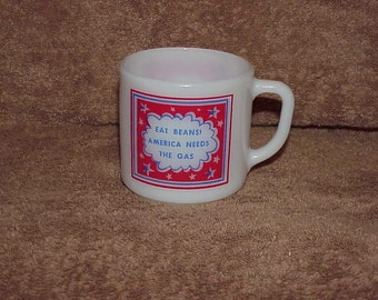 Vintage--1970's--Gas Shortage--Funny Cup--Mug--Eat Beans-America Needs The Gas--Red-White-Blue