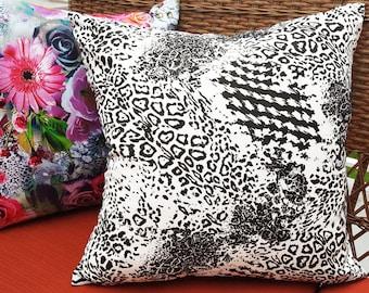 Animal Print Pillow Covers, Leopard Print Pillow,  Black White Pillow, Black White Throw Pillow, Designer Pillow, Boho Chic Decor 20x20