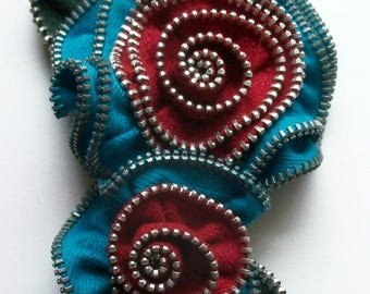 Turquoise Teal and Red Multi Flower Floral Brooch / Zipper Pin - 3083