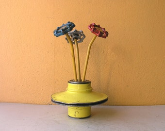 Mini Round Flower Vase Yellow Pencil Holder Table Vase Cute Desk Gift Steampunk Decor Junk Auto Parts Upcycled Metal Vessel Industrial Decor