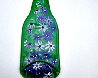 Spoon Rest, Kitchen Trivet,  Melted Green Beer Bottle,  Hand Painted Shades of Purple Flowers,  Candle Holder