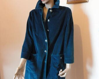 Vintage 1970's Blue Cord Duster Size 18