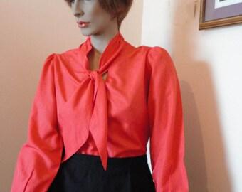1950's Tangerine Blouse With Tie Sz 12