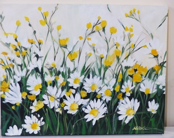 Fine art/acrylic painting/original painting/ daisy wall art/ yellow and white/mothers day gift/ boho chic decor