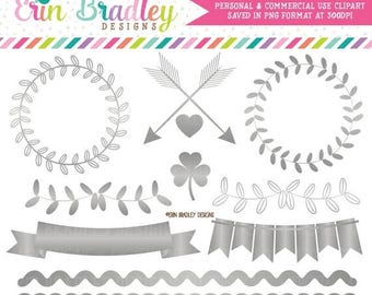 50% OFF SALE Silver Foil Clipart Graphics Instant Download Silver Vines Bunting Borders & Frame Clip Art Graphics
