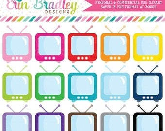 50% OFF SALE TV Set Clipart Television Clip Art Graphics Personal & Commercial Use