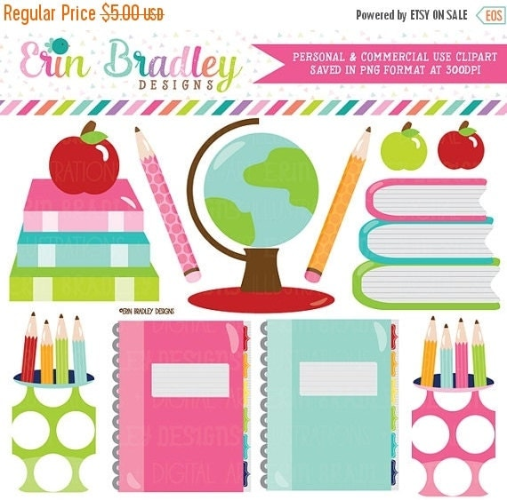 60% OFF SALE School Supplies Clipart Digital by ...