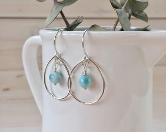 Larimar and Sterling Silver Tear Drop Earrings