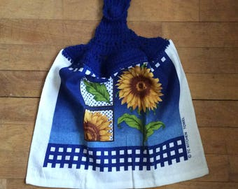 Blue Sunflower Kitchen Towel - Gingham Polka Dots