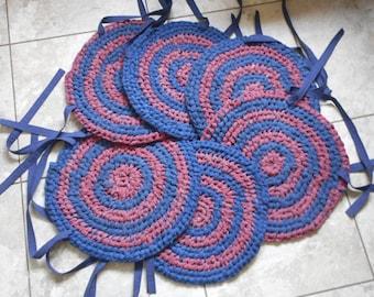 Set of 6 Rag Chair Cushions