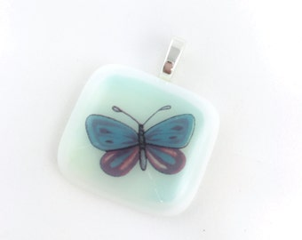 Butterfly Pendant - Fused Glass - Colored Decal - Blue and Purple - Necklace - Jewelry