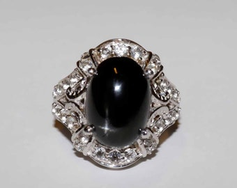 Genuine Black star diopside and clear white topaz sterling and platinum ring size 6 TGW 10cts shipping includes U.S.A and Canada
