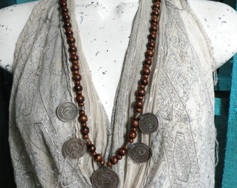 Dancing Gypsy - Long Tribal Coin Necklace, Brown Wood Beads, Bohemian Necklace, Nomadic Jewelry