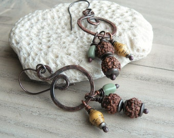 Nomadic Talisman Earrings, Spiral Earrings, Bohemian, Dark Copper, with Sterling Silver Ear Wires, Handmade, Rudraksha Earrings