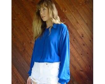 Cobalt Blue Silky l/s Button Blouse - Vintage 90s - M/L