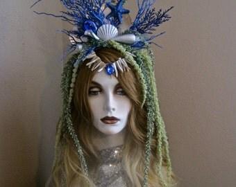 Deep Blue Sea: Mermaid Crown Headpiece Headband Fantasy Undersea Beach Bride Genuine Abalone Shells Starfish Silver Navy Blue Green Seaweed