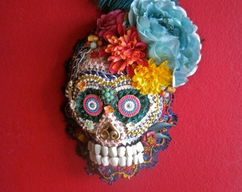 Skull Mask Day of the Dead Wall Hanging Decor Vintage Assemblage Jewelry Flowers Feather Trims Mother of Pearl Teeth One of a Kind