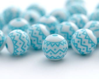 Etched Blue White Zig Zag Acrylic Round Beads 10mm (20)