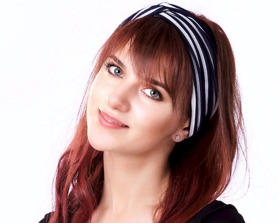 Hair Accessory Turban Headband Gift For Her Boho Headband Women's Headband Women's Gift Navy Striped Headband Nautical Style Mariner Stripe
