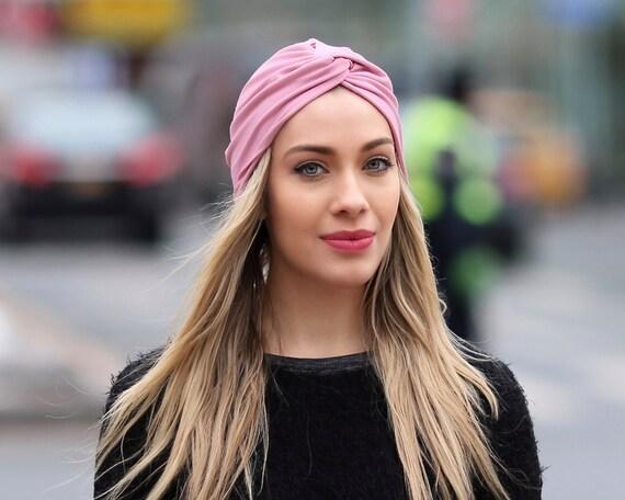 Women's Turban Hat Pink Blush Turban Spring Fashion 1940s Hat Head Covering Stretchy Turban Beach Coverup Chemo Turban Chemo Hat Chemo Cap