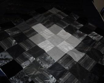 Grey Black and White Velvet Couch Blanket