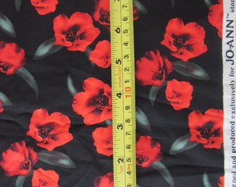 Red poppy flowers design for Jo-Ann stores, designer fabric, red poppy flower on black background, cotton fabric, quilting, by the yard