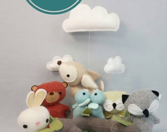 Woodland Baby Mobile - Nursery, Unisex, Neutral, Decor, Mobile, Clouds, Animals, Forest, Baby, READY TO SHIP