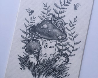 SALE - Original Graphite Drawing - Mushrooms #2