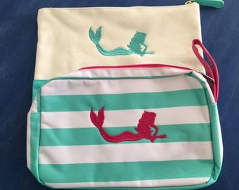 2 mermaid mint pink makeup bags cosmetic pouches monogram bridesmaids beach wedding bridal shower Spring break Beach House Dreams Home OBX